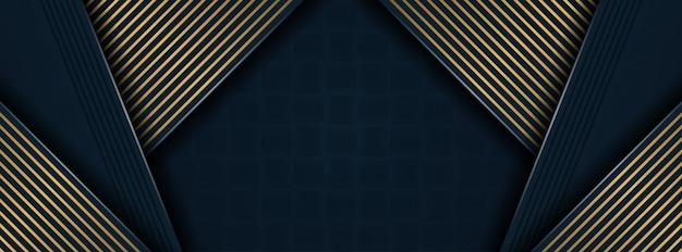 金色のディテールを備えたダークブルーのペーパーレイヤー壁紙