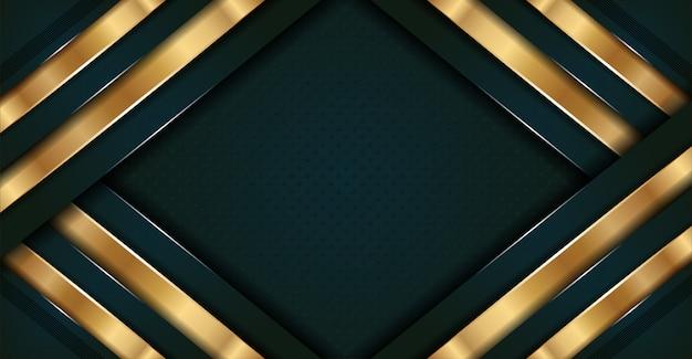 ゴールデンラインと抽象的なダークグリーンの豪華さ
