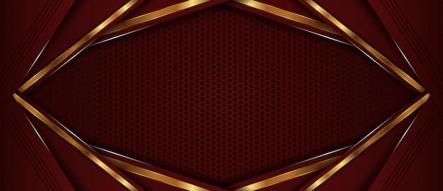 ゴールデンラインのオーバーラップレイヤーと抽象的な濃い赤