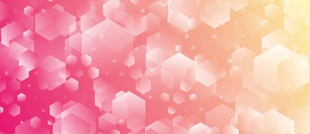 六角形と幾何学的なスタイルの抽象的なピンク黄色の背景