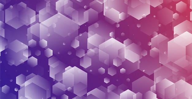六角形と幾何学的なスタイルの抽象的なブルーピンクの背景