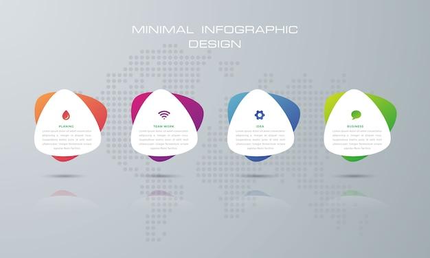 オプション、ワークフロー、プロセスチャートを含む丸い三角形のインフォグラフィックテンプレート