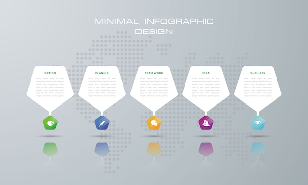 オプション、ワークフロー、プロセスチャートを持つペンタゴンインフォグラフィックテンプレート