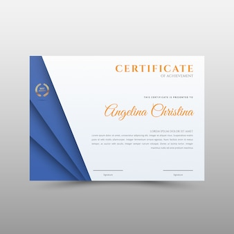 Синий шаблон сертификата для достижения