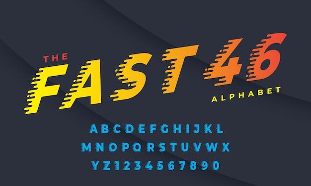 Скорость стиль шрифта, алфавита и цифры - вектор