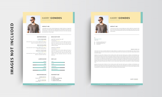 Профессиональный минималистский резюме резюме и дизайн бланка шаблона, зеленый и желтый - вектор