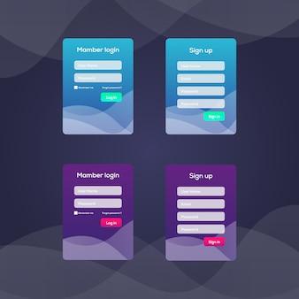 Экран входа в систему и шаблон формы входа для мобильного приложения