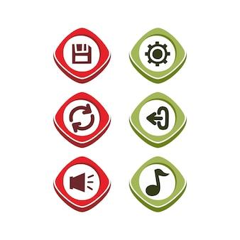 Значок кнопка набор тема векторной иллюстрации искусства