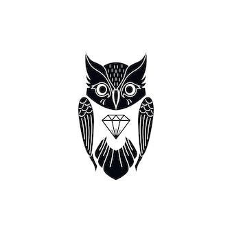 Декоративная сова птица тема векторной иллюстрации искусства