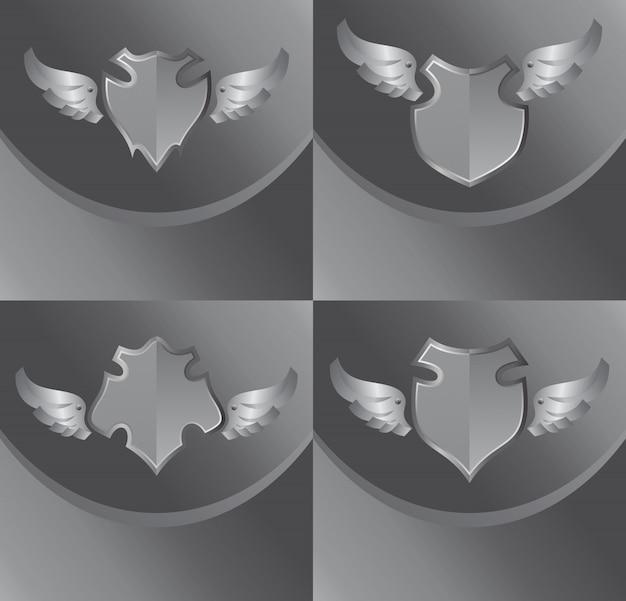 Серебряный щит и крыла тема векторных иллюстраций