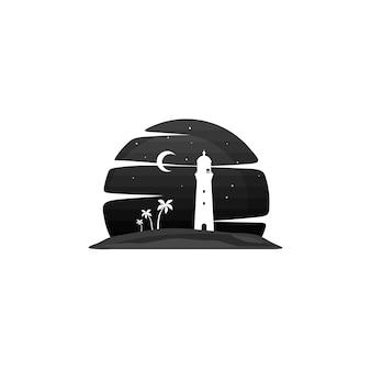灯台のビーチ島の眺めベクトルアート