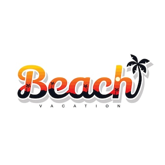 夏の休日ビーチサインシンボルベクトルアート