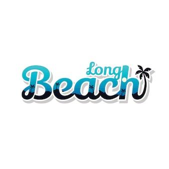 ロングビーチの夏の休日ビーチサインシンボルベクトルアート