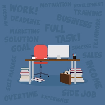 本とコンピューターのベクトルアートのオフィスデスク