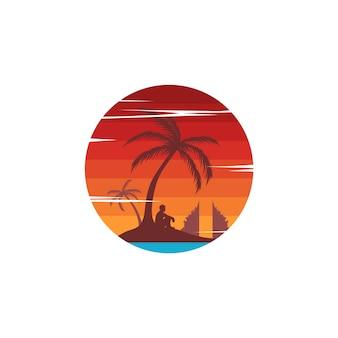 Пляжный отдых путешествия знак тема летний отдых