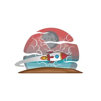 Космический челнок ракета войдите цвет логотип вектор логотип