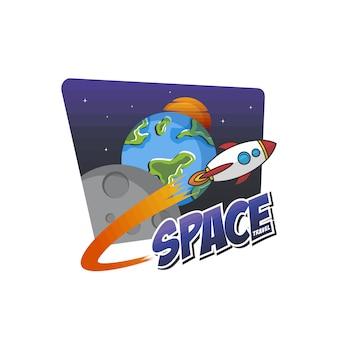 Ракетный корабль космическое путешествие векторная иллюстрация