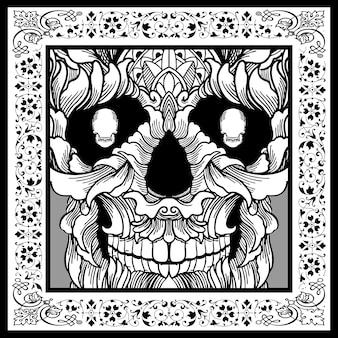 黒と白の頭蓋骨の花のイラスト