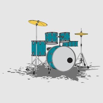 ドラムセット、手描き