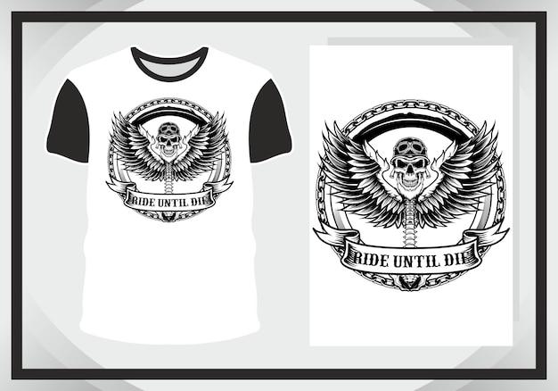 Крылатый череп для иллюстрации и футболка