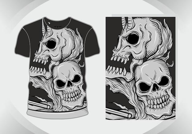 Головы черепа, жуткая иллюстрация для дизайна футболки