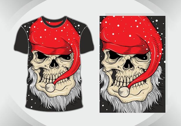 Голова черепа с шляпу санта, иллюстрация для дизайна футболки