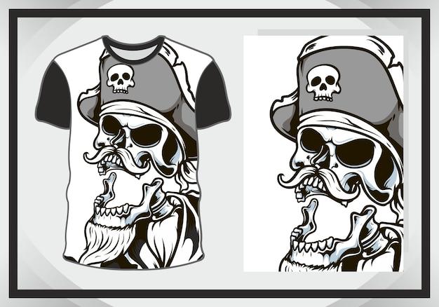Голова черепа, темная иллюстрация для дизайна футболки