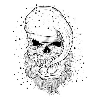 Чертеж руки черепа санта-клауса, изолированные