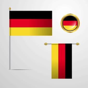 ドイツ、バージニアのベクトルでフラッグデザインを振る