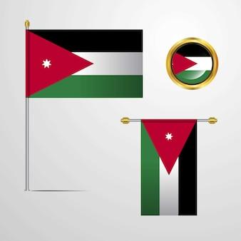 ヨルダンは、バッジベクトルと旗のデザインを振る