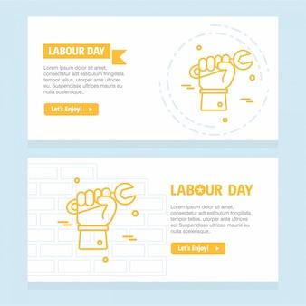 Счастливый день труда дизайн с желтой темой вектор