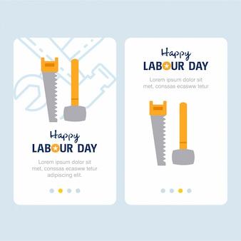 黄色と青のテーマを持つ幸せな労働日のデザイン