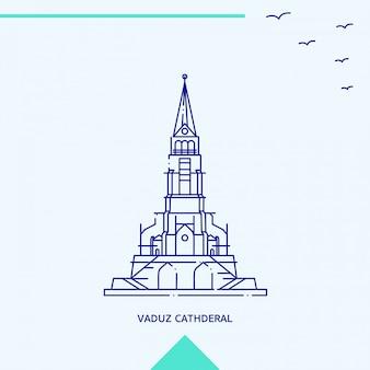 ファドゥーツ大聖堂のスカイラインタワー記念碑ベクトル