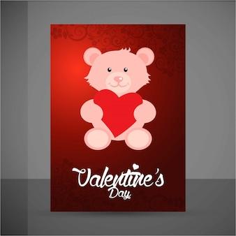 幸せなバレンタインデーのテディベア