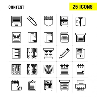 Набор значков строки содержимого: книга, метка книги, контент, контент, ручки, карман, контент