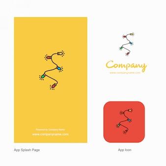 装飾ライト会社ロゴアプリアイコンとスプラッシュページ