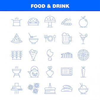 Набор иконок продуктов питания и напитков линии