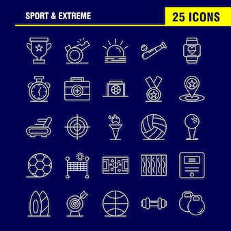 スポーツと極端な線のアイコン