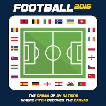 グランド・ユーロカップの周りの参加国の旗