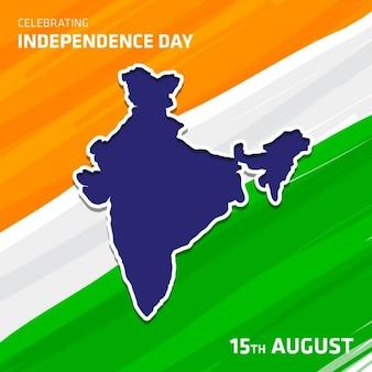 インドの旗の背景を持つベクトルインド地図