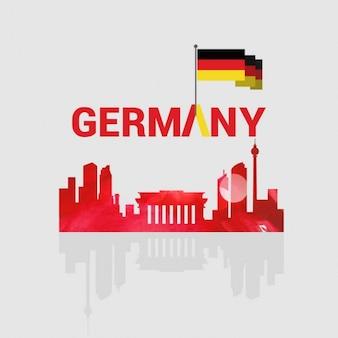 国のランドマークとドイツクリエイティブタイポグラフィ