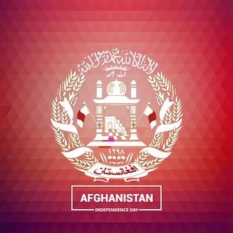 赤の背景にアフガニスタン国のシンボル
