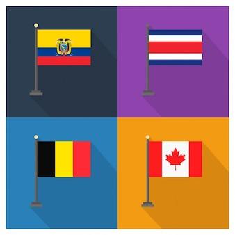 エクアドル、コスタリカ、ベルギー、カナダ国旗