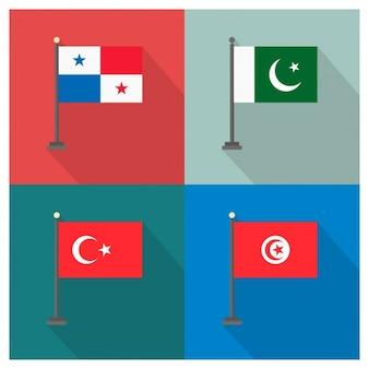 パナマ、パキスタン、トルコ、チュニジアの国旗