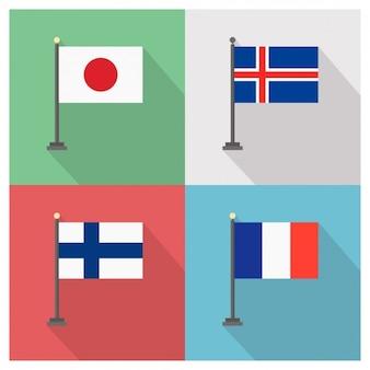 日本アイスランド、フィンランド、フランス国旗