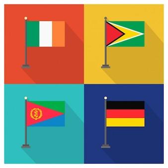 アイルランドガイアナエリトリアとドイツの旗