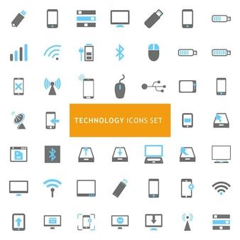 青とグレーテクノロジーアイコンセット
