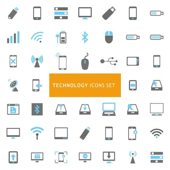 Синий и серый технология набор иконок
