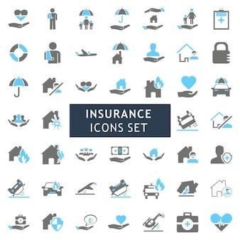 ブラーとグレーカラフルな保険アイコンセット