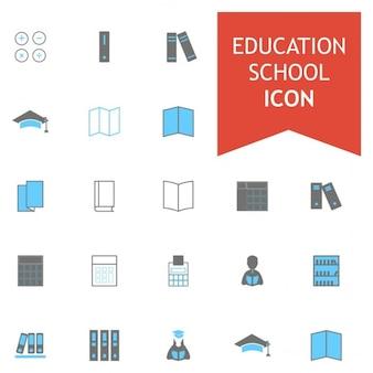 ブラーとグレーカラフルな学校教育のアイコンセット